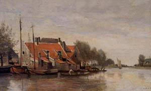 Near Rotterdam Small Houses on the Banks of a Canal 1854